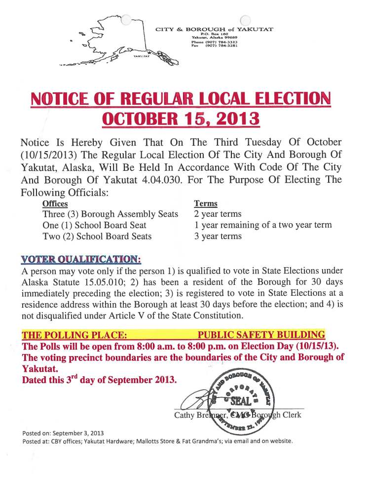 Notice of Election 2013
