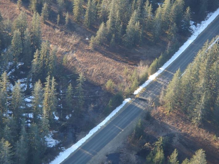 Road wash-out at 10 Mile Meadow from the air