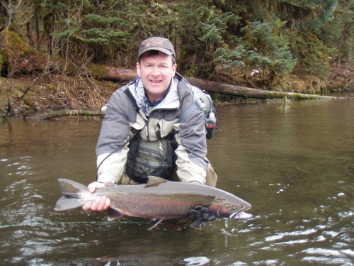 My friend Bob with a beautiful spring steelhead