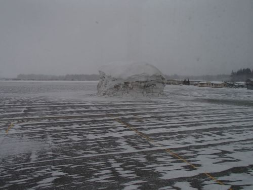 Snow starting to accumulate across the Yakutat Airport ramp this morning