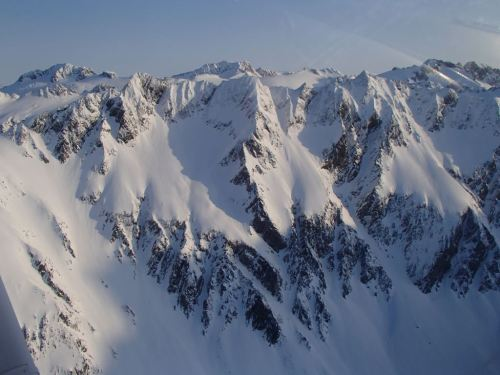 Lots of snow up there in the mountains,  even though our sea-level snowpack was low this winter