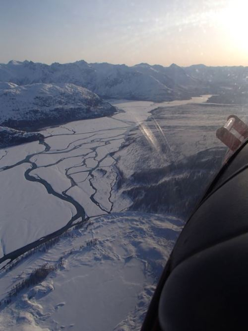 The mighty Alsek River is just a trickle in winter