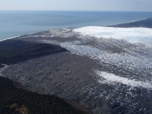 La Perouse Glacier is the last glacier in Alaska to calve directly into the ocean surf