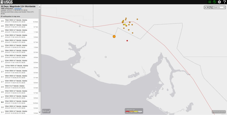 Location of today's earthquake activity around Yakutat