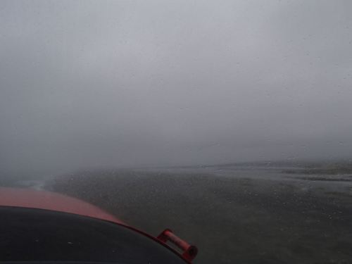 Visibility once again drops (but not too bad) as we approach Yakutat International Airport