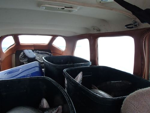 The plane lightly loaded with three garbage cans of fish