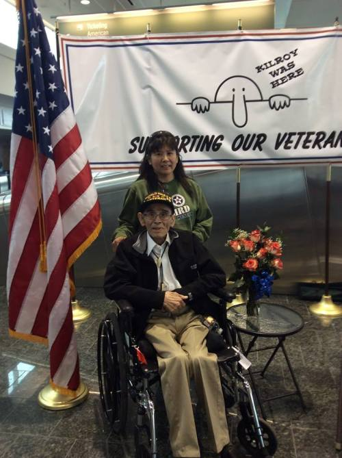 Sig and Tina Edwards,  waiting for their Honor Flight trip to DC last spring