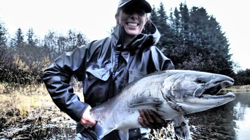 Lisa with a big Italio coho