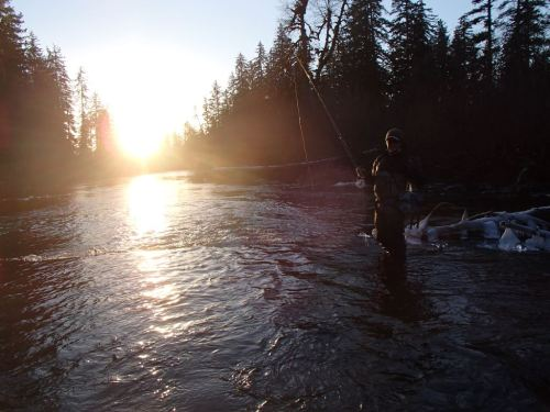 Chris in the icy Situk,  scouting late winter steelhead