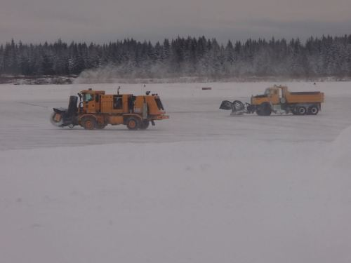 Clearing the airport for the Alaska Airlines arrival
