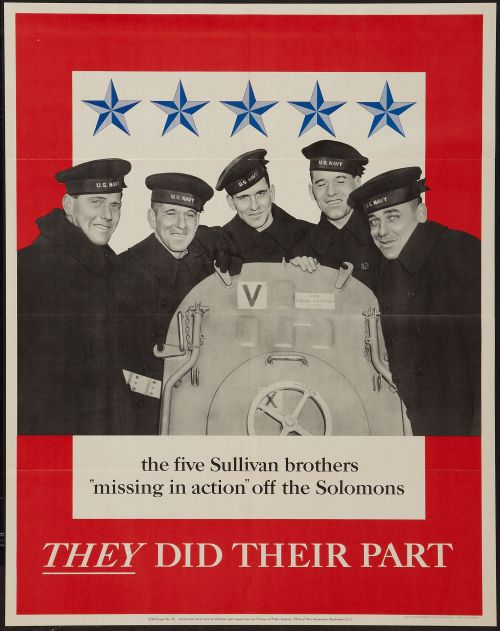 The 5 Sullivan brothers perished when the USS Juneau went down in the Solomons,  1942
