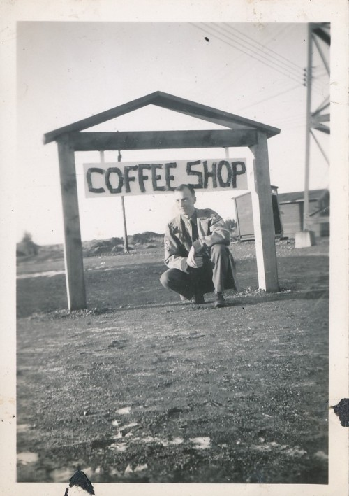The coffee shop sign at the airbase